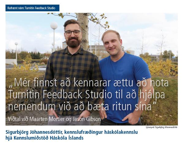 """Skjámynd af fyrsta hluta greinarinnar """"""""Mér finnst að kennarar ættu að nota Turnitin Feedback Studio til að hjálpa nemendum við að bæta ritun sína."""""""